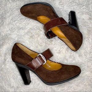 Tommy Hilfiger 90's Brown Suede Mary Jane Heel 9